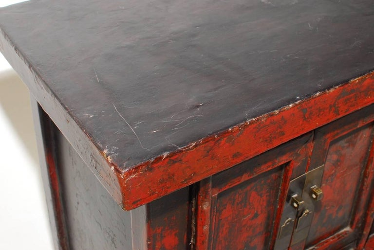 19th Century Chinese Red Lacquer Provincial Coffer In Distressed Condition For Sale In Oakland, CA