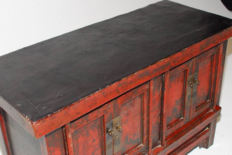 Lacquered 19th Century Chinese Red Lacquer Provincial Coffer For Sale