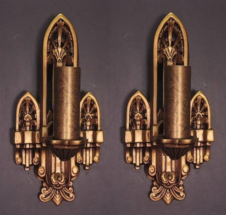 Pair Of Simple Church Lights For Sale: Old New England Church Sconces, 1920s For Sale At 1stdibs