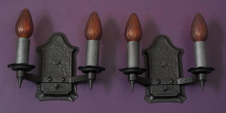 American Pair of 1920s Cast Iron Sconces For Sale
