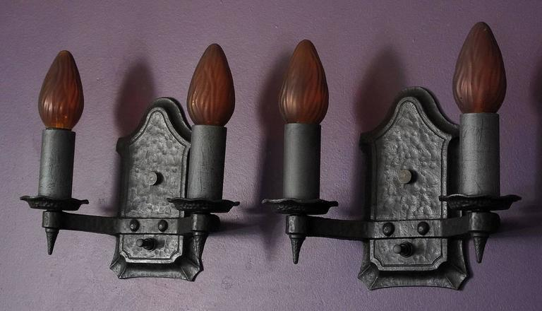 Pair of 1920s Cast Iron Sconces In Excellent Condition For Sale In Prescott, AZ