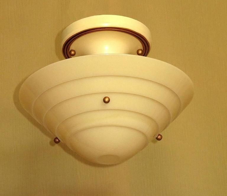 American Lightolier Mid-Century Custard Glass Ceiling Fixture For Sale
