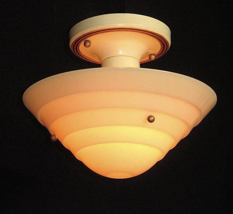 Painted Lightolier Mid-Century Custard Glass Ceiling Fixture For Sale