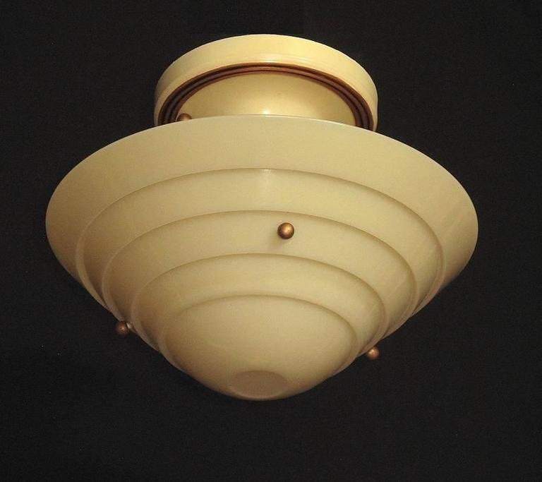 Lightolier Mid-Century Custard Glass Ceiling Fixture In Excellent Condition For Sale In Prescott, AZ