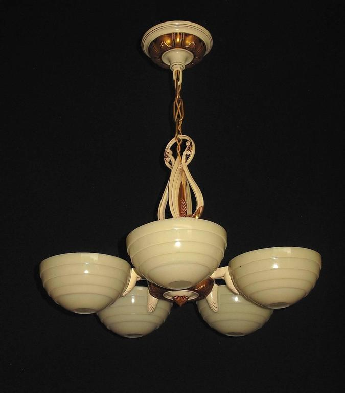 American Mid-Century Five Custard Shade Chandelier, 1930s For Sale