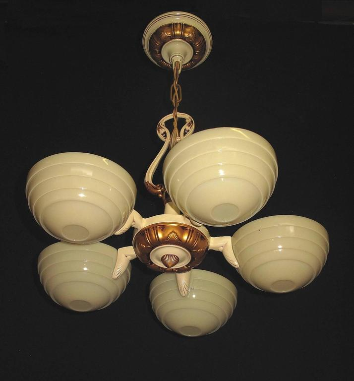 Cast Mid-Century Five Custard Shade Chandelier, 1930s For Sale