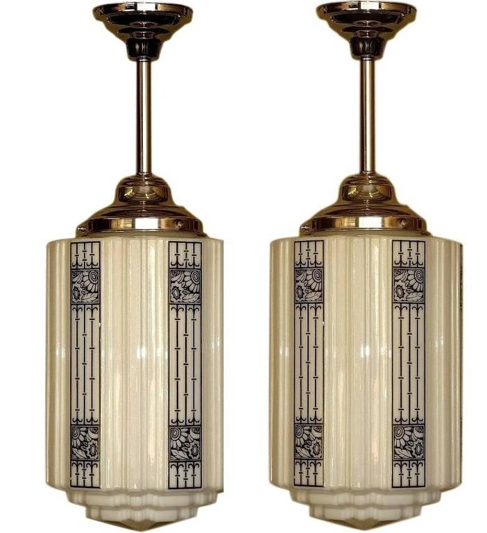 1920s bronze and nickel billiard light fixture art deco finials for