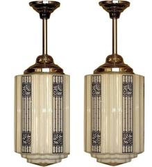 6 Large Art Deco Commercial Fixtures, 1920s