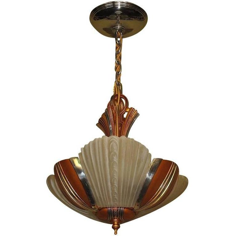 Mid Century Three Light Ceiling Fixture Circa 1930s For