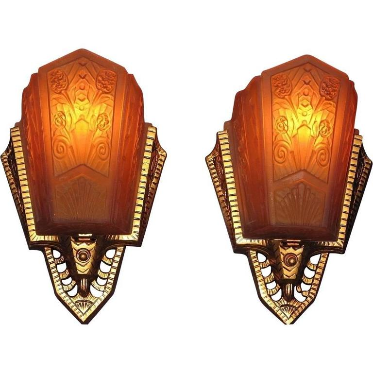 Wall Sconce No Shade : Art Deco Slip Shade Wall Sconces, circa 1928 at 1stdibs