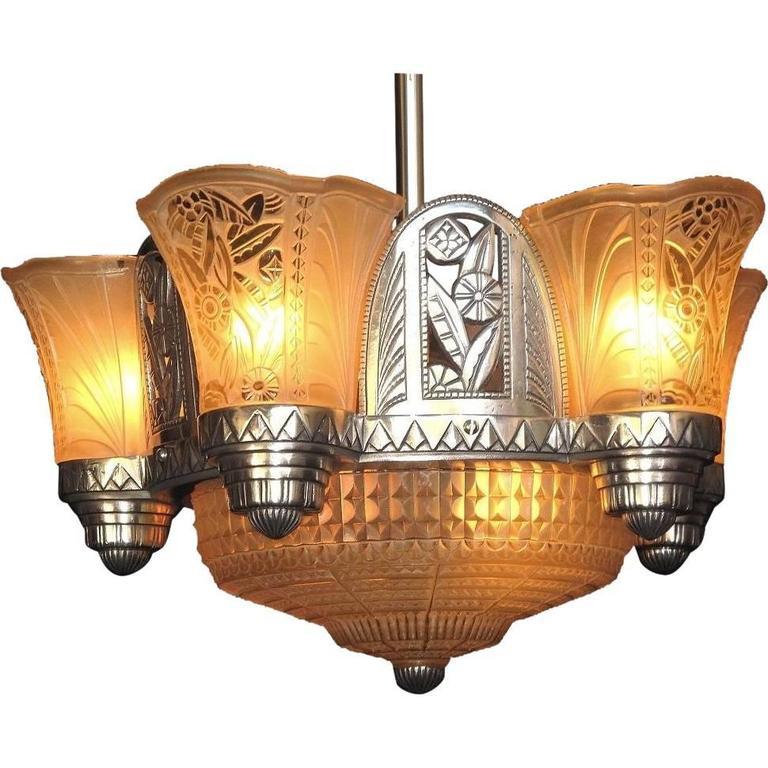 Late 1920s Art Deco Chandelier