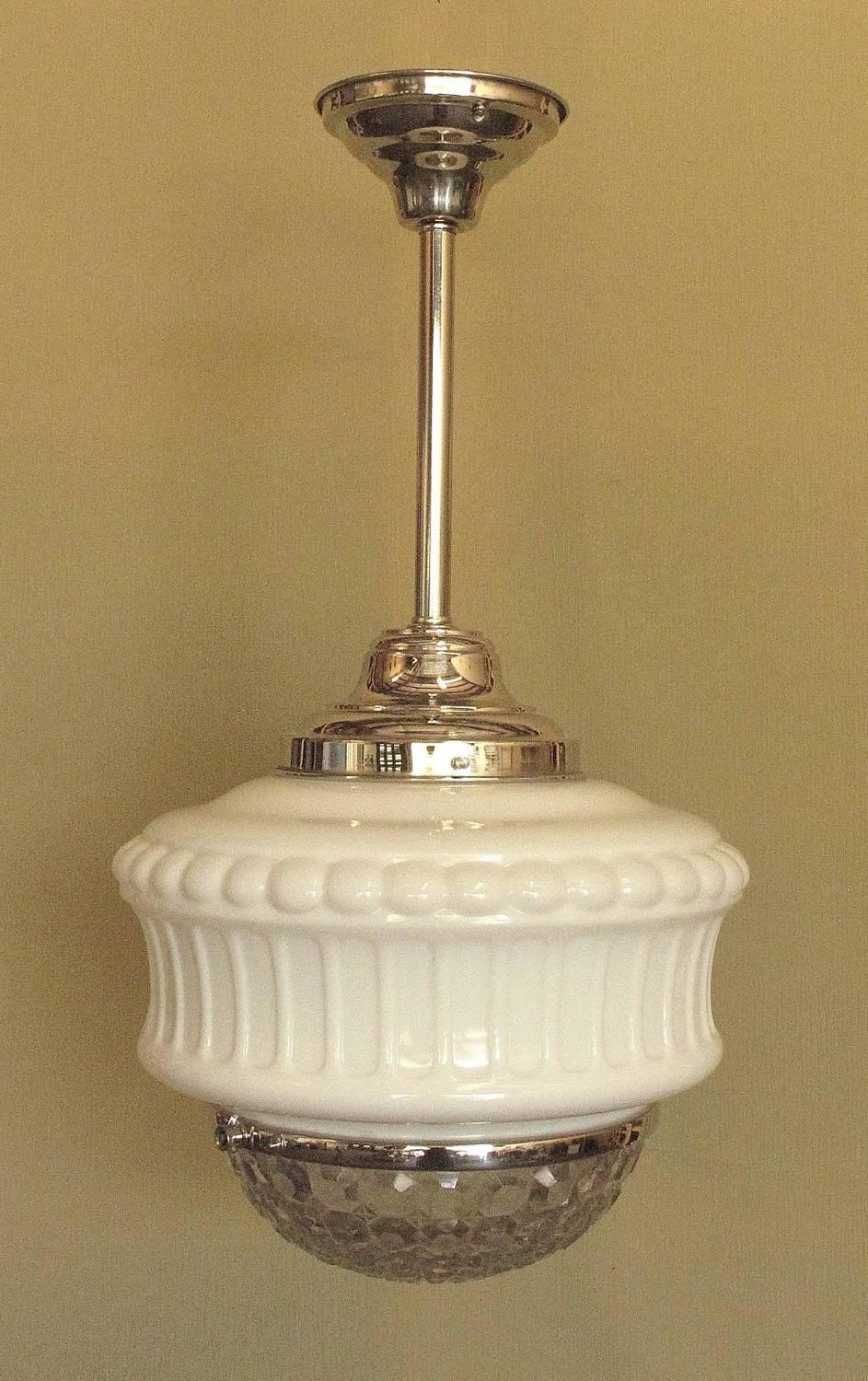 Large vintage schoolhouse fixture circa 1920s at 1stdibs for Antique pendant light fixtures