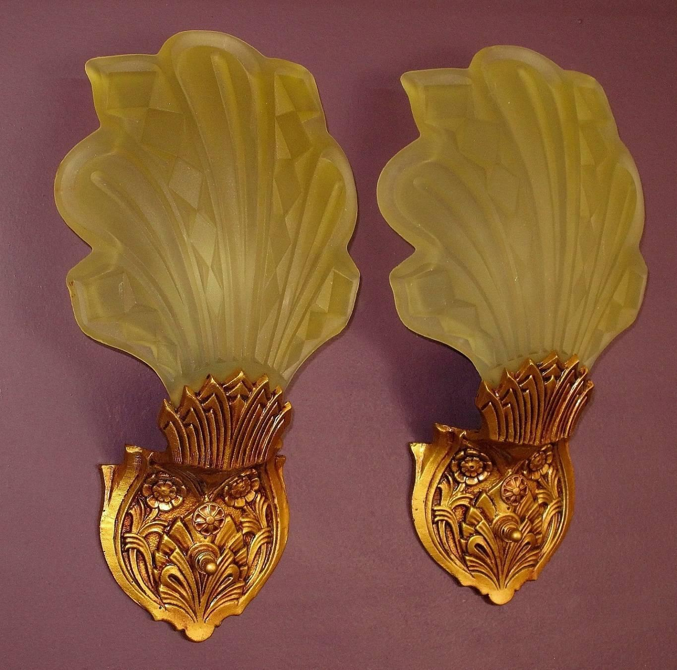 Late 1920s Early 1930s Art Deco Wall Sconces For Sale At