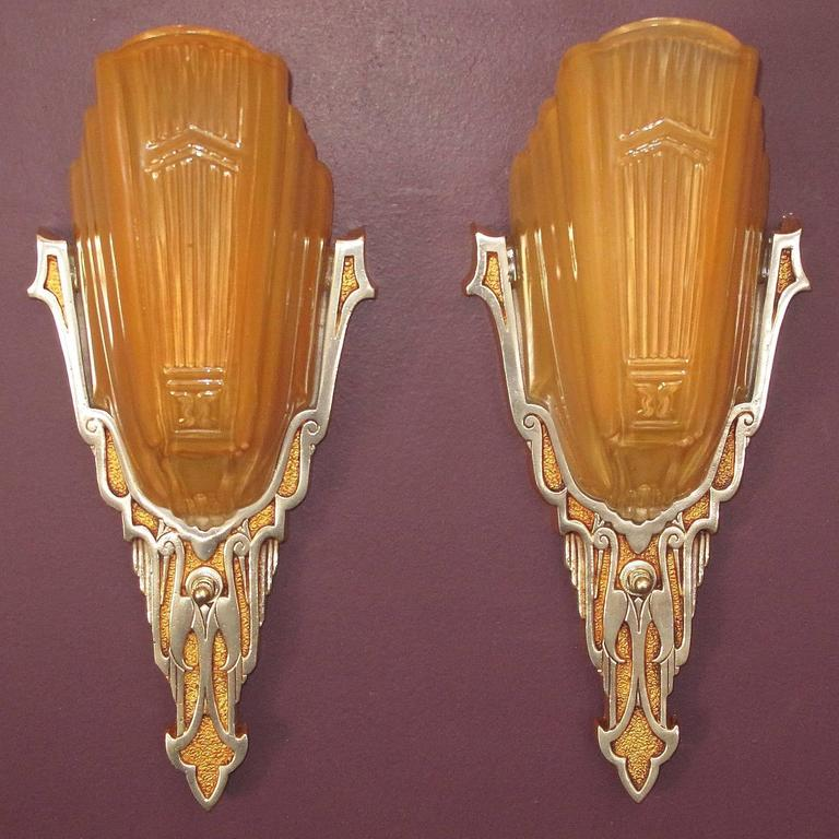 Art Deco Sconces With Stylized Stork Circa 1930 At 1stdibs
