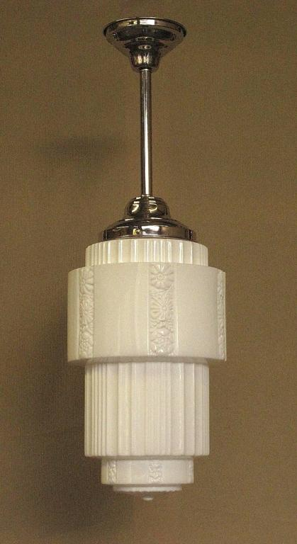 American Large Department Store Schoolhouse Electric Ceiling Fixture For Sale