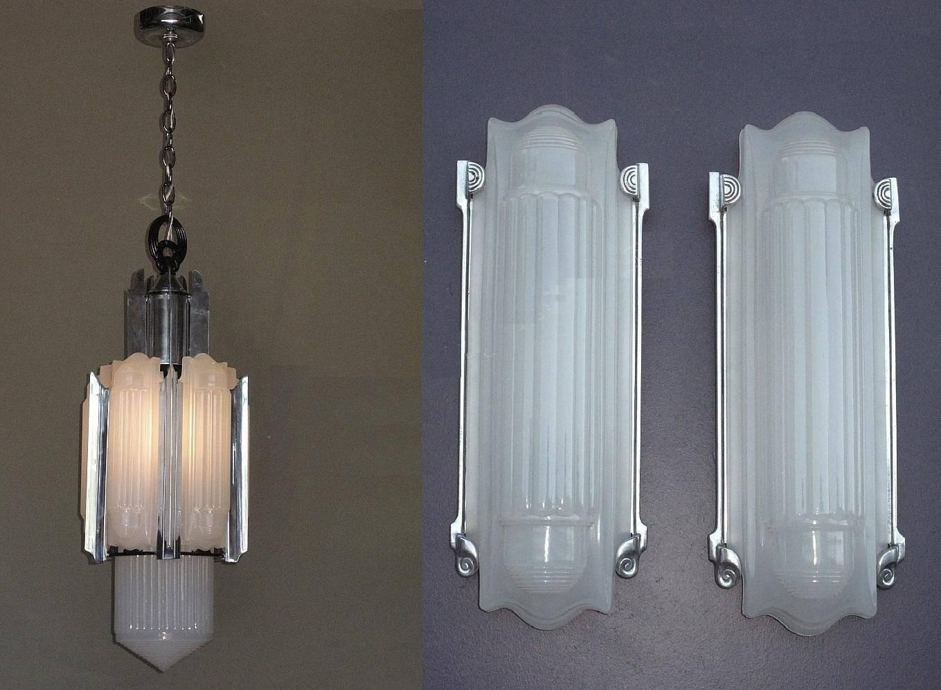 Home Theater Wall Sconces Lighting : Large Elegant Art Deco Wall Sconces Home Theater at 1stdibs