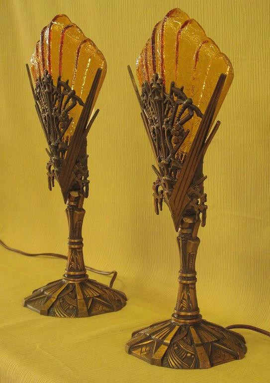 Exceptional Art Deco Bronze Dragonfly Mantle Lamps, Circa 1932 For Sale