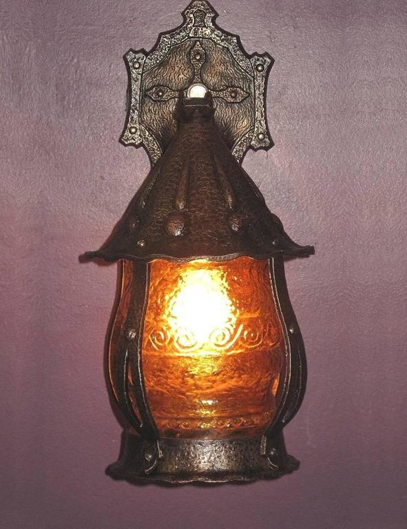 1920s Storybook Style Porch Light With Original Glass At