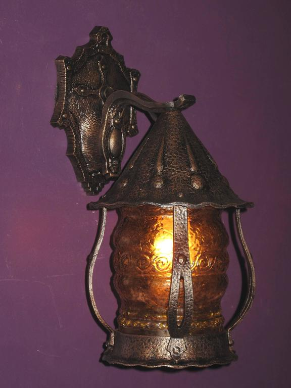 1920s Storybook Style Porch Light With Original Glass At 1stdibs
