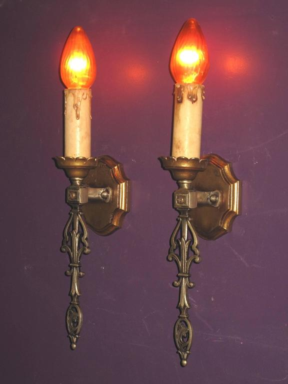 Cast French Eclectic Style Single Bulb Sconces, 1920s For Sale