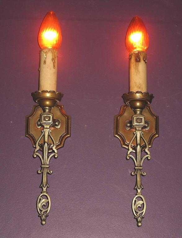 American French Eclectic Style Single Bulb Sconces, 1920s For Sale