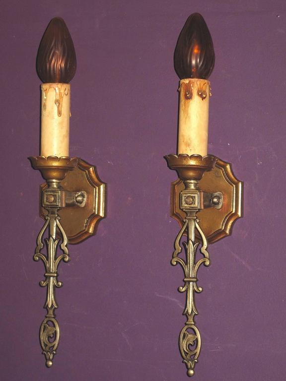 French Eclectic Style Single Bulb Sconces, 1920s In Good Condition For Sale In Prescott, AZ