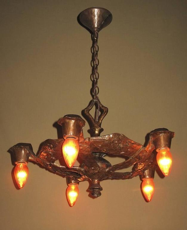 1920s Cb Rogers Five Light Fixture In Original Colors And