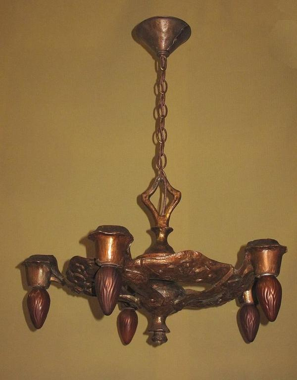 1920s cb rogers five light fixture in original colors and patina for