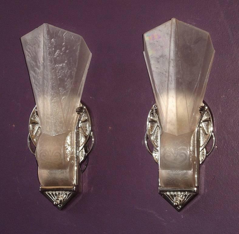 Art Deco Slip Shade Wall Sconces : Iconic 20s-30s Vintage Art Deco Slip Shade Wall Sconces at 1stdibs