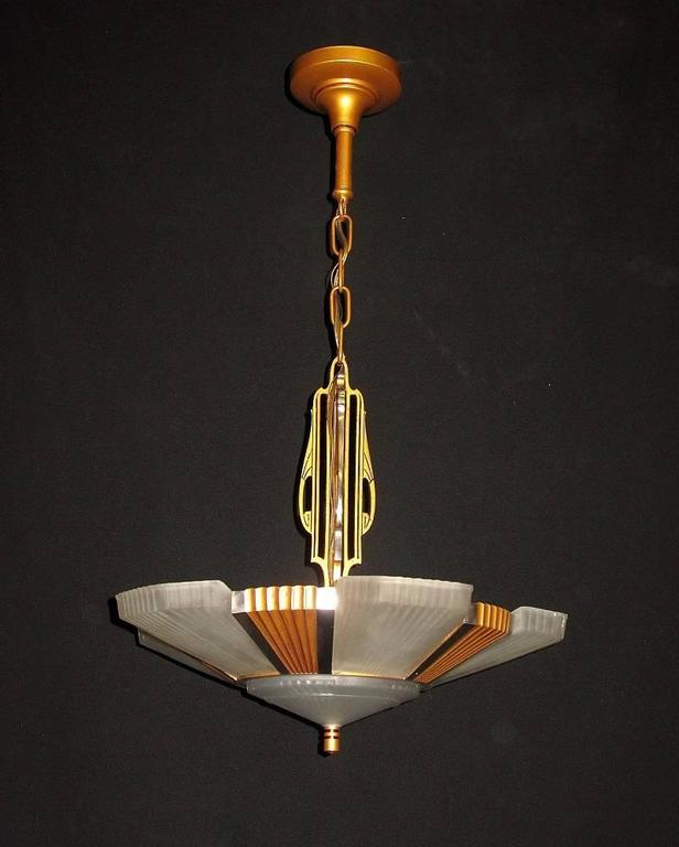 1930s Mid Century Six Shade Chandelier At 1stdibs