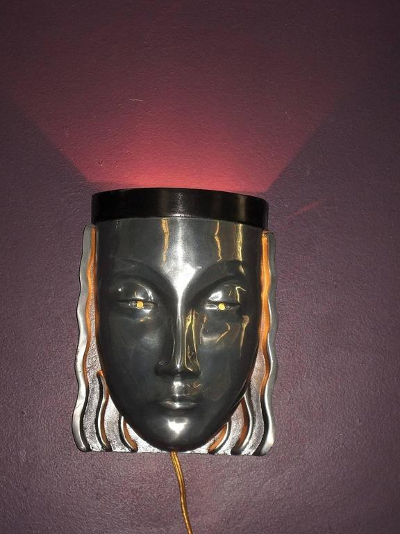 Mid Century Chrome Wall Sconces : Pair of Mid-Century Art Deco Womans Face Wall Sconce at 1stdibs