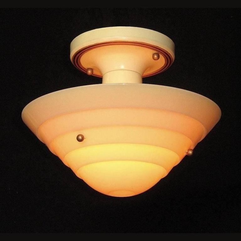 20th Century Lightolier Mid-Century Custard Glass Ceiling Fixture For Sale