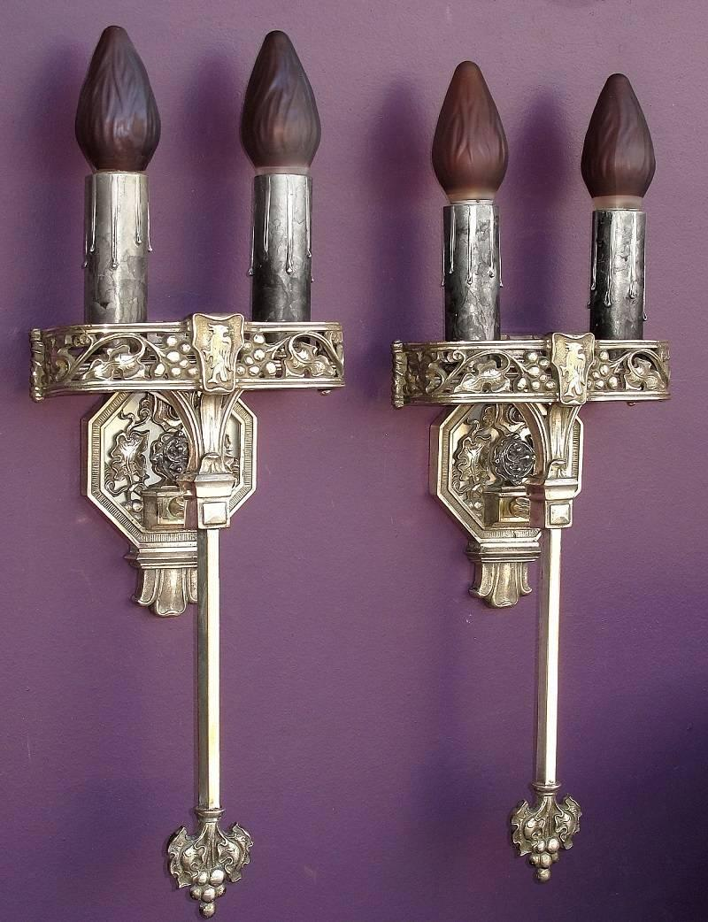 Large Gothic Wall Sconces : Large Tudor / Gothic Two Bulb Sconces, 1920s For Sale at 1stdibs