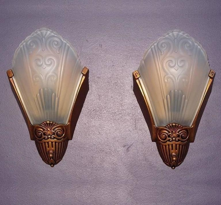 1920s 1930s Slip Shade Wall Sconces By Virden Ada At 1stdibs