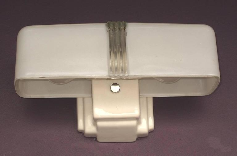 2 Available 1930s Two Bulb White Porcelain Bathroom Fixture For Sale At 1stdibs