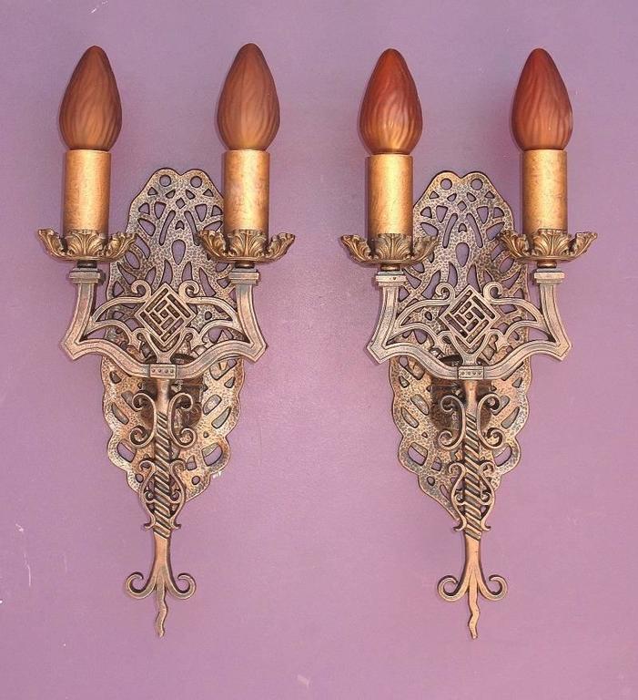 Cast Spanish Revival Sconces, Late 1920s For Sale