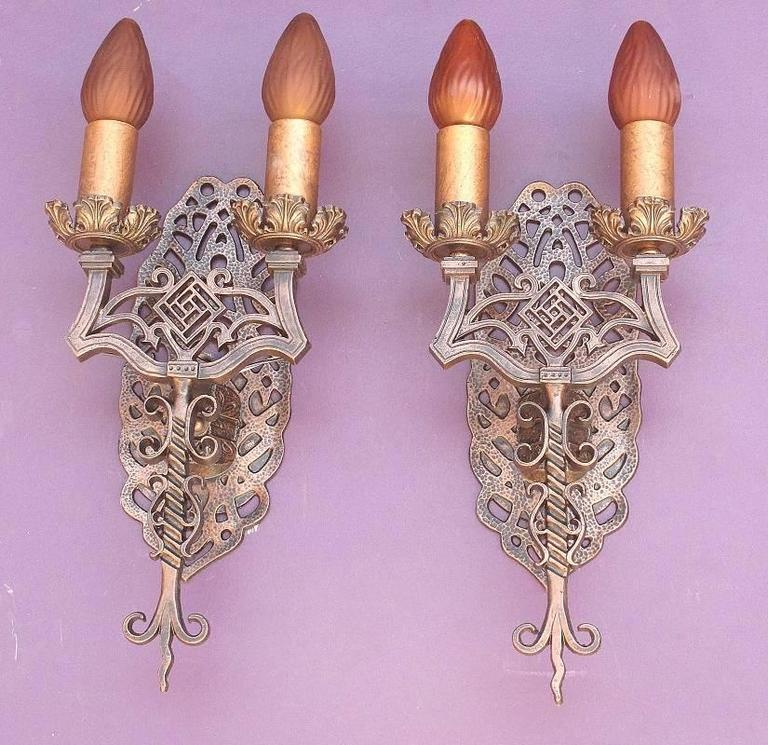 Early 20th Century Spanish Revival Sconces, Late 1920s For Sale