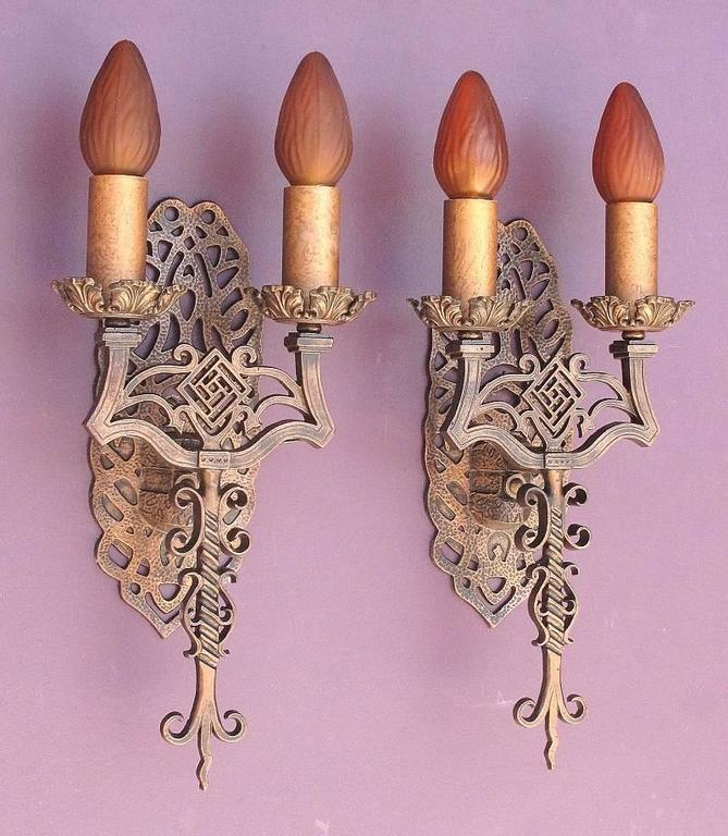 Aluminum Spanish Revival Sconces, Late 1920s For Sale