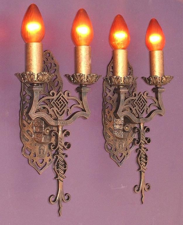 Spanish Revival Sconces, Late 1920s In Excellent Condition For Sale In Prescott, AZ