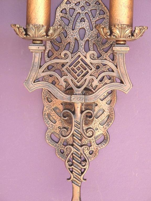 American Spanish Revival Sconces, Late 1920s For Sale