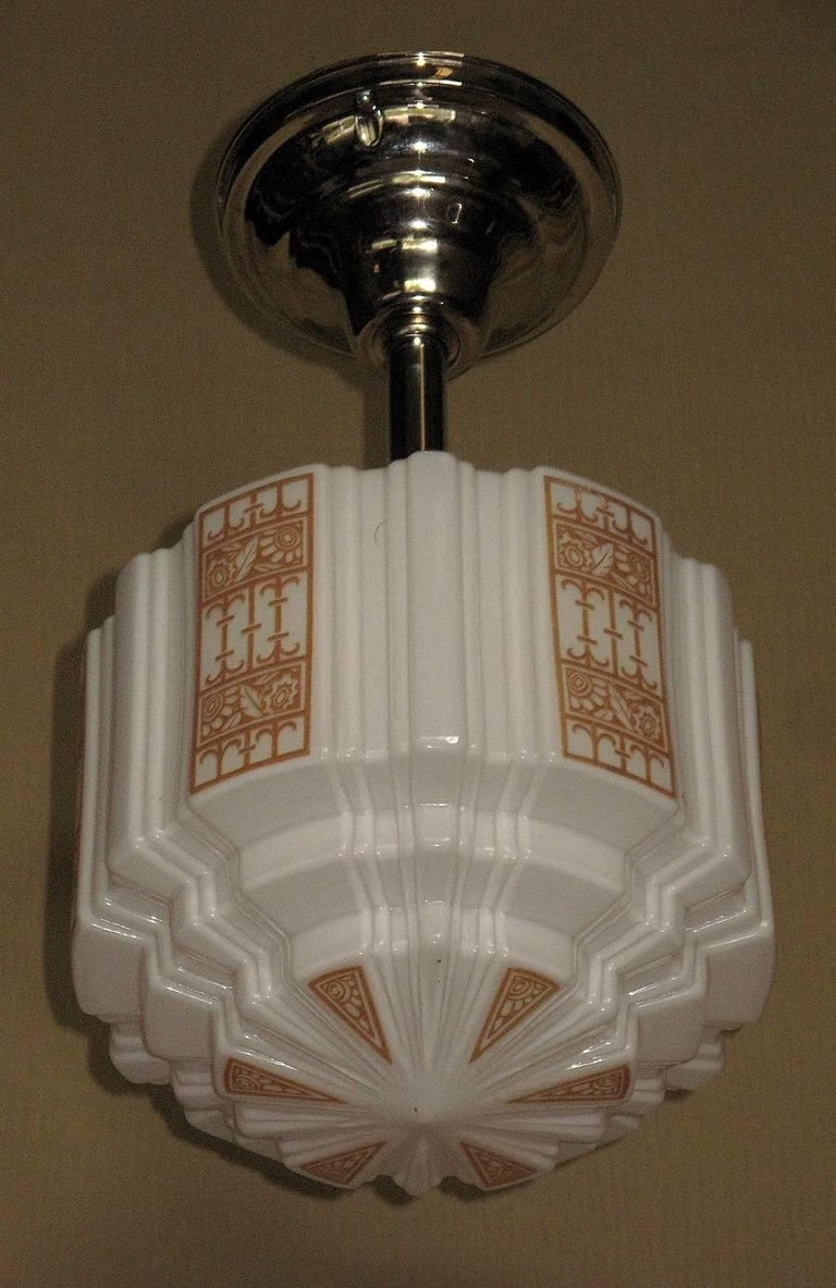 Painted five 1930s era tan deco design church fixtures for sale