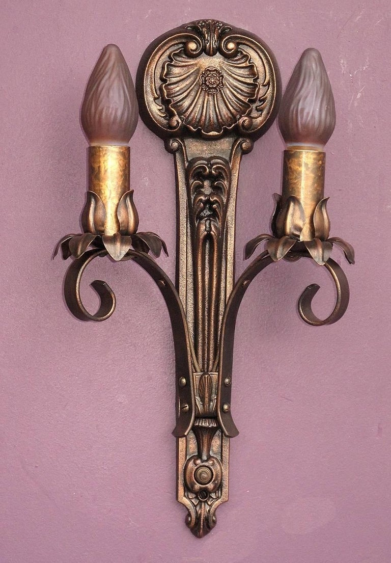 Moe Bridges Two Bulb Cast Iron Sconce At 1stdibs