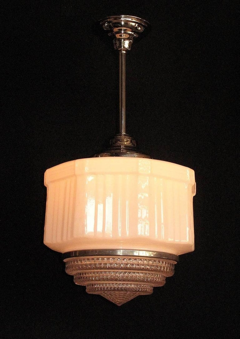 Lighting One: Three Large Vintage Schoolhouse Style Electric Fixtures