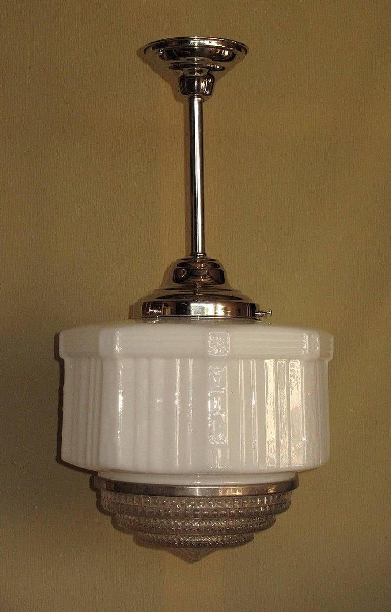 Large Vintage Schoolhouse Style Electric Fixtures For Sale 1