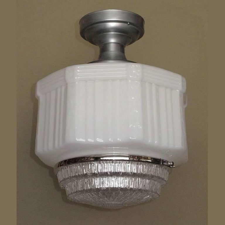 Large Vintage Schoolhouse Style Electric Fixtures For Sale 3