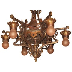 Solid Bronze Spanish Revival Six-Light Chandelier Original Finish and Patina
