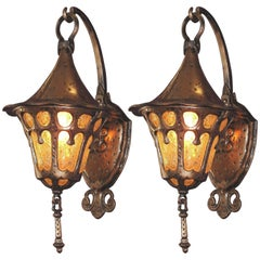 Pair of 1920s Storybook Porch Lights