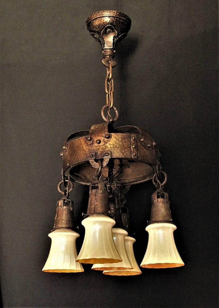 Early 20th Century Masssive Centrepiece Craftsman Fixture, circa 1910 For Sale