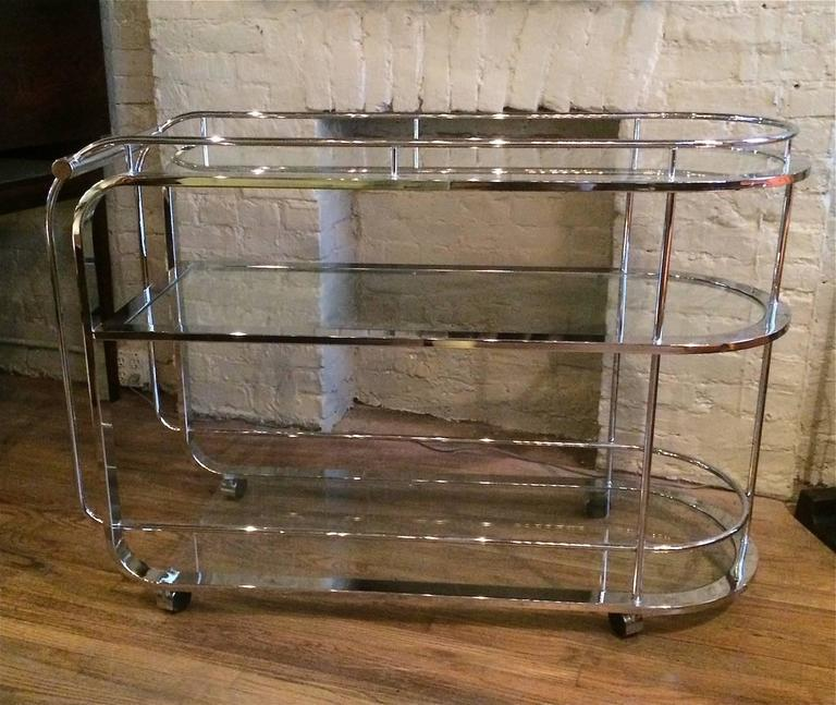 1980s Modern Tubular Chrome And Gl Tiered Bar Cart At 1stdibs