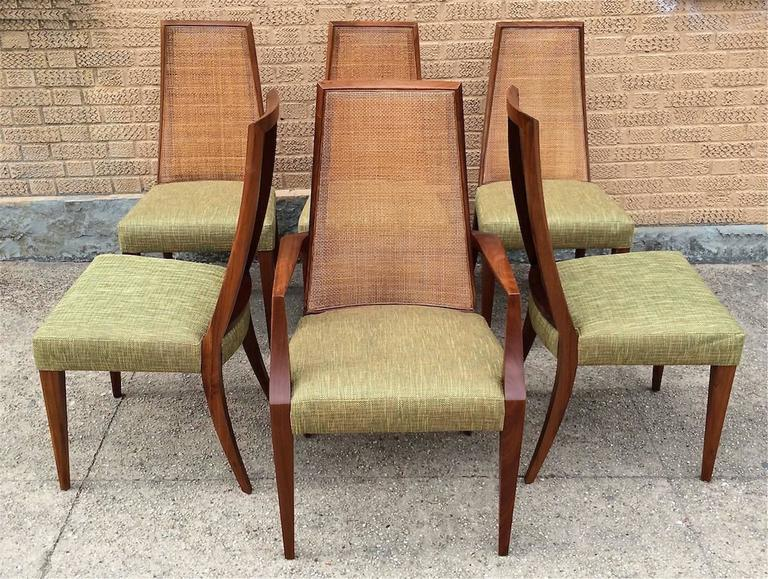 American Mid Century Modern Tall Cane Back Dining Chairs By Grosfeld House For